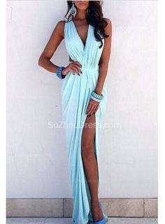 USD$129.00 - Light Blue Prom Dresses V-neck Ruffles Sleeveless Sexy Side Slit Sloor Length Beach Evening Gowns - www.suzhoudress.com