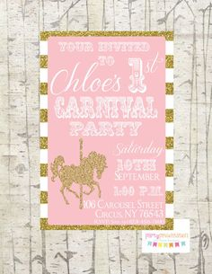 Carousel Birthday Invitation Carnival Invitation Printable Pink, White and Gold Stripe Glitter by Party Presentation by PartyPresentation on Etsy https://www.etsy.com/listing/205161167/carousel-birthday-invitation-carnival