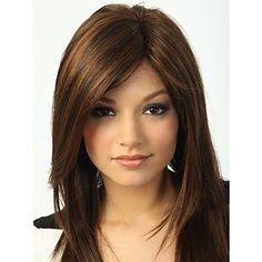 Capless High Quality Pretty Medium Straight  Brown  Hair Wig – USD $ 25.99