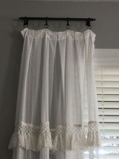 I added fringe trim to cover up the new seam that was created while adding the length Cypress Pine, Fringe Trim, Curtains, Shower, Home Decor, Rain Shower Heads, Blinds, Decoration Home, Room Decor