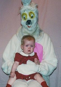 Pictures with the Easter Bunny. Yikes, I'd cry, too!