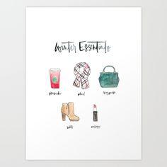 Winter Essentials :: Watercolor Illustration :: Brush Calligraphy :: #saffronavenueshop
