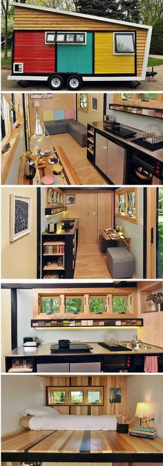 The Toy Box tiny house - 140 sq ft the colors on the outside, the spice rack, the double fridge- Dan's freezer.