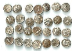 Some of the 82 silver coins of Ancient Macedon King Philip II captured by the Bulgarian Customs Agency at Sofia International Airport. Photo: Bulgarian Customs Agency