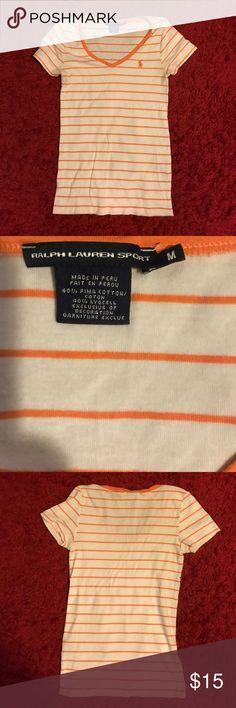 Ralph Lauren SPORT orange & white striped shirt Ralph Lauren SPORT orange & white striped shirt size Medium Ralph Lauren Tops Tees - Short Sleeve