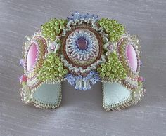 Serenity Cuff  Beaded Cuff Bracelet by LaurenElise on Etsy, $150.00