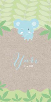 Hip geboortekaartje voor de geboorte van een jongen met mooie illustratie van een olifant in de jungle.