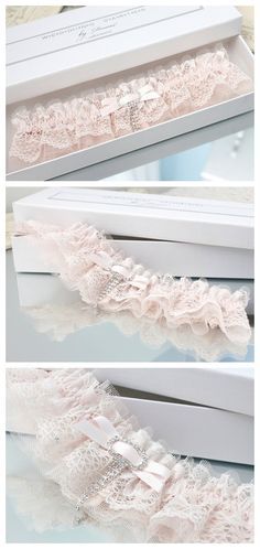 Ivory powder pink lace garter wedding bridal vintage inspired