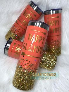 Epoxy Tumbler Glitter Tumbler Cup Happy Glamper Stainless Steel Tumbler Travel Mug Cup Diy Tumblers, Custom Tumblers, Glitter Tumblers, Tumblr Cup, Makeup Storage Box, Cup Crafts, Glitter Cups, Pink Glitter, Painted Cups