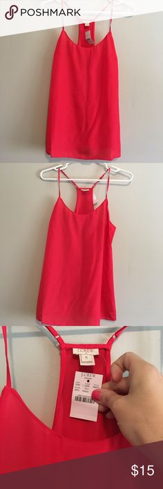 NWT Jcrew Factory Tank. Size 6 NWT Jcrew Factory Tank. Beautiful red color. Racerback style. Size 6 J.Crew Factory Tops Tank Tops