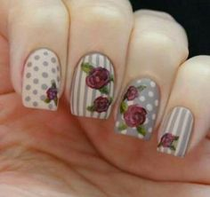 Check out this collection of 15 vintage floral nail art designs & ideas of Rose Nails, Flower Nails, Purple Nails, Shabby Chic Nails, Vintage Nail Art, Vintage Floral, Floral Nail Art, Get Nails, Cute Nail Art