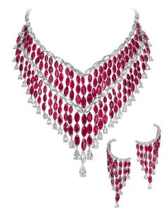 Bogh-Art DIAMOND MASTER: ROBERTO BOGHOSSIAN High Jewley diamond and gemstone (Ruby) necklace and earrings.