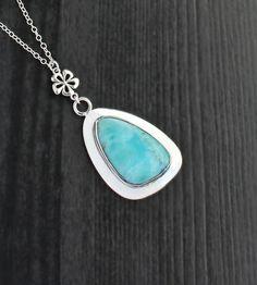 Larimar Triangle Silver Necklace Blue larimar by SaruchiRJewellery