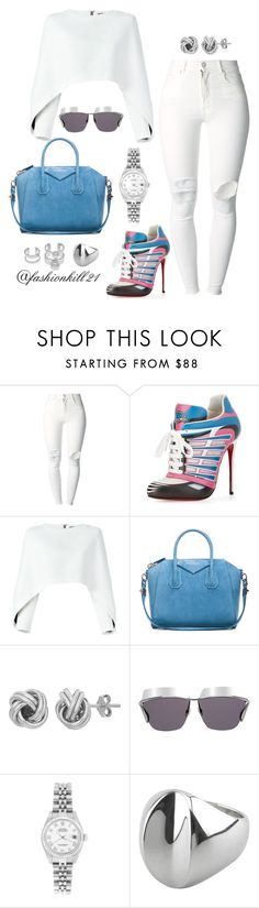 """""""Flashback Look 20"""" by fashionkill21 ❤ liked on Polyvore featuring (+) PEOPLE, Christian Louboutin, Balmain, Givenchy, Christian Dior, Rolex, Hansen, Joomi Lim, women's clothing and women"""