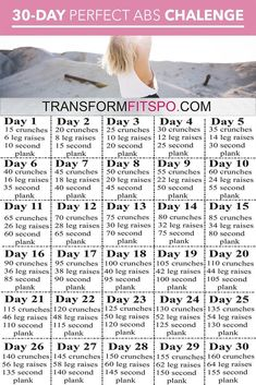 Perfect abs 30 day challenge is designed to melt your fat and tone your abs. Giving you the perfect summer body ready for the beach! Can You Have Perfect Abs in Just 30 Days? These Challenge Results Will Amaze You… Fitness Workouts, Sport Fitness, At Home Workouts, Fitness Tips, Health Fitness, 30 Min Gym Workout, Fat Workout, Fitness Quotes, 30 Day Challenge