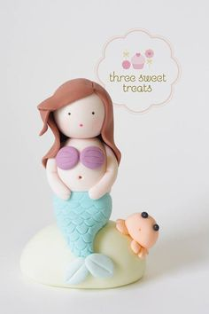 gorgeous mermaid cake topper from Three Sweet Treats