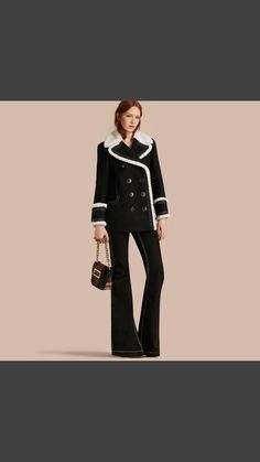 Burberry Shearling-trimmed Wool Cashmere Blend Pea Coat
