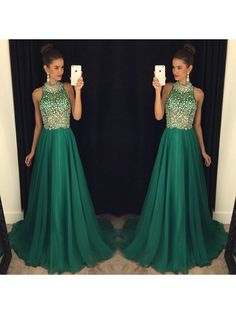Prom Dress, Kelly Green Haltered Top Beaded Open Back Discount Long Prom Dresses 2017