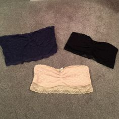 American eagle bandeau bundle All size large, the navy is cut longer than the black and nude, all are lace material American Eagle Outfitters Intimates & Sleepwear Bandeaus