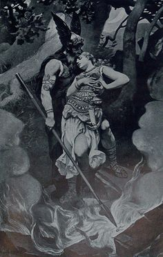 Odin and Brunhild by K. Dielitz yes, she was real. Odin's lover, not so much. She was a valkrie sheild maiden and my grandmother about 45 times ago