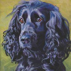 "black English COCKER SPANIEL dog art portrait Canvas print of LA Shepard painting 8x8"""
