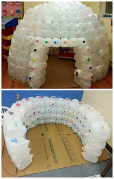 How To Of The Day How To Build A Milk Jug Igloo Common Sense Evaluation is part of Milk jug igloo MThis fun project really is recycling at its finest It's wintertime and extremely cold in many a - Kids Crafts, Projects For Kids, Diy For Kids, Diy And Crafts, Craft Projects, Recycled Crafts, Milk Jug Crafts, Bottle Crafts, Milk Jug Projects