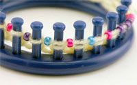 Beaded Hat made using the Knifty Knitter Loom
