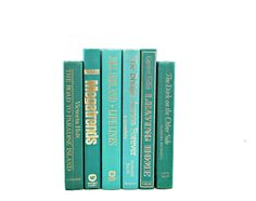 Aqua Green Decorative Books, Vintage Books, Old Book Decor, Wedding Decor Centerpiece, Book Collection, Instant Library, Book Set stack
