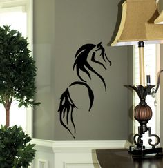 Little sister. This could be the centerpiece to her room.    Stylized Horse | Wall Decals - Trading Phrases