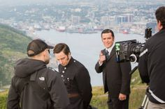 Jonny Harris and Yannick Bisson on location for Murdoch Mysteries at Signal Hill, St. John's