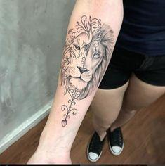 Tattoo - Lion Tattoo -Lion Tattoo - Lion Tattoo - As 70 melhores tatuagens de leão da internet [Masculinas e Femininas] - Eu amo tatuagens Beautiful tattoo done by Looking for a tattoo artist? Lion And Lioness Tattoo, Female Lion Tattoo, Lion Arm Tattoo, G Tattoo, Lion Tattoo Design, Leo Tattoos, Mini Tattoos, Mandala Lion Tattoo, Horse Tattoos