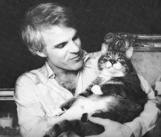 Steve Martin with a cute fattie cat via Celebrities Are Cat People Too - Izismile.com