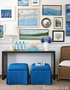 """I was directly inspired by the beautiful blues of the ocean and the sky and the sandy beiges of the shore,"" notes designer Kate Singer. ""Each element is represented."""