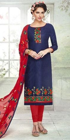 Incredible Blue Cotton Straight Suit With Dupatta.