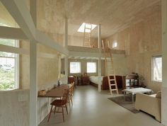 plywood walls... whitewashed?  love this