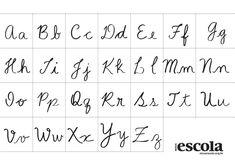 Alfabeto cursivo-mesa Hand Lettering Fonts, Typography, Cursive, Bullet Journal, Calligraphy, Writing, School, Google, Matilda