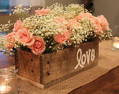 Rustic Wedding Decorations, chic information id 6498872310 - Interesting concept to make a truly mind blowing decorations. rustic chic wedding decorations suggestions posted on this moment 20181228 , Rustic Planters, Rustic Centerpieces, Wedding Shower Centerpieces, Wedding Favors, Wedding Card, Party Wedding, Wedding Signs, Planter Box Centerpiece, Communion Centerpieces