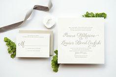 Oh So Beautiful Paper: Anna + Lanier's Elegant Letterpress Calligraphy Wedding Invitations