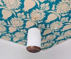 blue wallpaper with floral design for ceiling decorating