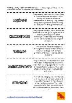 FREEBIE: Learner Profile Matching Activity and Poster