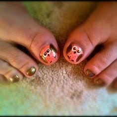 owl nail art by sammystaines Nail Art Gallery nailartgallery.na by Nails Ma Girls Nail Designs, Toe Designs, Nail Art Designs, Owl Nail Art, Owl Nails, Nail Art Pieds, Pedicure Nails, Pedicure Ideas, Nail Ideas