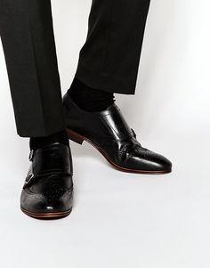 Schuhe von H by Hudson glattes Leder Innenfutter aus echtem Leder Monkriemen schmale Zehenpartie klassischer Budapester Stil mit geeignetem Pflegemittel behandeln Obermaterial aus 100% echtem Leder