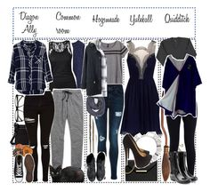 """""""~ ravenclaw ~"""" by squidney12 ❤ liked on Polyvore featuring Chicwish, ZeroUV, Tommy Hilfiger, Madewell, Topshop, Rails, H&M, Steve Madden, Le Mont St. Michel and NIKE"""
