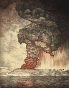Combining two of my loves--Geology and Art: Lithograph from Royal Society Report on Krakatoa Eruption, 1888.