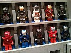 All lego iron man's collections of suits .