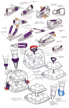 Various pen drawings, pencil drawings, Photoshop renderings, and Adobe Illustrator work for product visualisation.