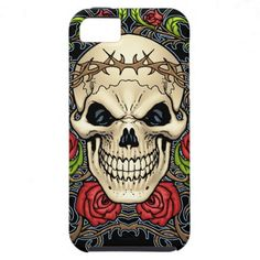 Skull and Roses with Crown Of Thorns by Al Rio iPhone 5 Covers