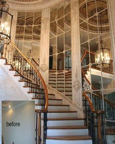 43 ideas living room interior design luxury staircases for 2019 Luxury Staircase, Staircase Railings, Staircase Design, Staircases, Dining Area Design, Foyer Furniture, Grand Entryway, House Plans Mansion, Beautiful Stairs