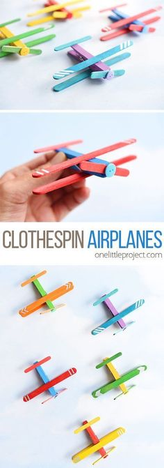 simple kids crafts These clothespin airplanes are SO FUN and super simple to make. All you need are clothespins and craft sticks. They even open and close! This is such a great kids craft and a fun activity for summer. Popsicle Stick Crafts, Popsicle Sticks, Craft Stick Crafts, Preschool Crafts, Easy Crafts, Diy And Crafts, Craft Sticks, Clothespin Crafts, Crafts For Kindergarten