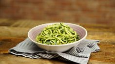 Recipe with video instructions: This simple dish delivers everything you love about pesto pasta, minus the guilt. Ingredients: 4 oz zucchini noodles (can also use whole-grain spaghetti), 1 Tbsp olive oil, For the pesto:, ½ avocado, 1 Tbsp olive oil, ¼ cup Parmesan cheese, Pinch of salt, 1 garlic clove, ½ bunch basil